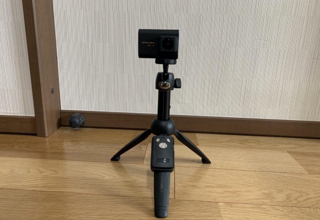 XXZU 自撮り棒 ミニ三脚 ミニ三脚にアクションカメラを接続した状態